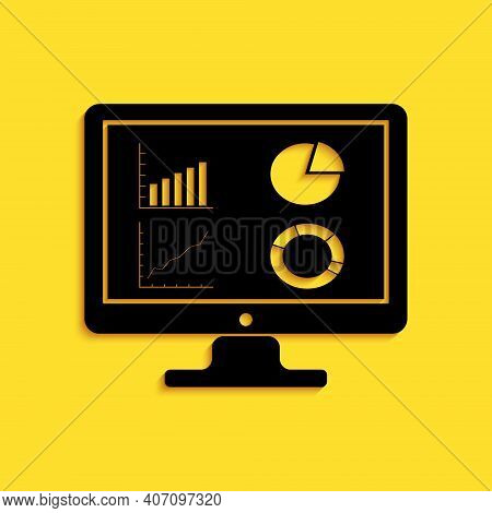 Black Computer Monitor With Graph Chart Icon Isolated On Yellow Background. Report Text File Icon. A