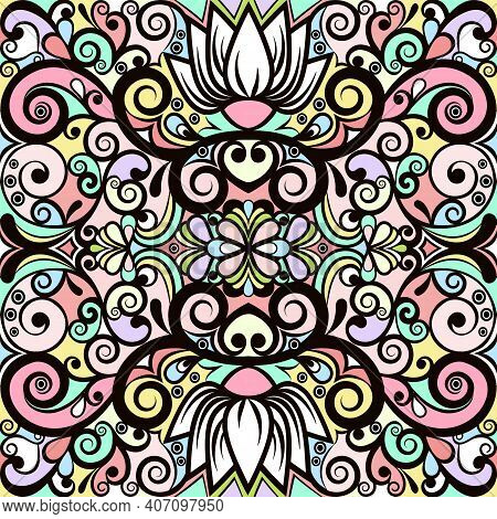 Floral Abstract Ornament, Bright Pastel Colorful Pattern, Multicolored Background, Ethnic Swirl Trac