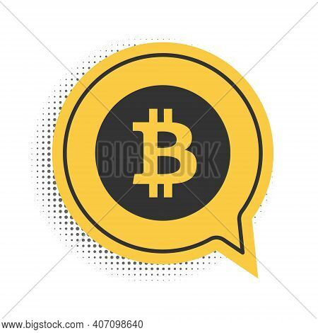 Black Cryptocurrency Coin Bitcoin Icon Isolated On White Background. Physical Bit Coin. Digital Curr