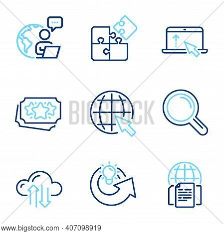 Technology Icons Set. Included Icon As Swipe Up, Loyalty Points, Cloud Sync Signs. Research, Puzzle,
