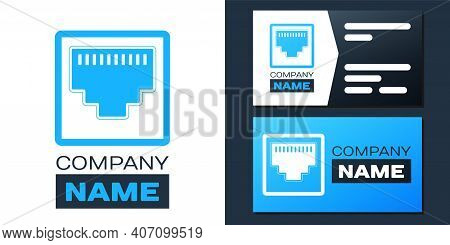 Logotype Network Port - Cable Socket Icon Isolated On White Background. Lan Port Icon. Ethernet Simp