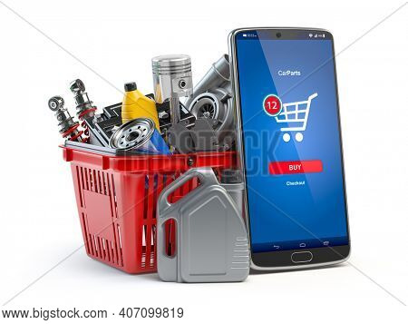 Car parts, spares and accesoires in shopping basket and smartphone isolated in white. Online purchasing and delivery of car spare concept. 3d illustration