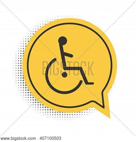 Black Disabled Handicap Icon Isolated On White Background. Wheelchair Handicap Sign. Yellow Speech B