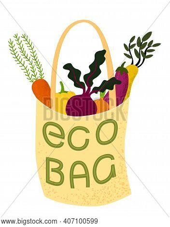 Eco Bag. Vector Illustration Of Cloth Tote Full Of Organic Vegetables With Lettering.