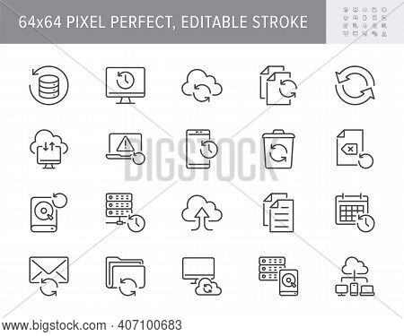 Backup Line Icons. Vector Illustration With Minimal Icon - Recovery Data, Laptop, System Crash Repai
