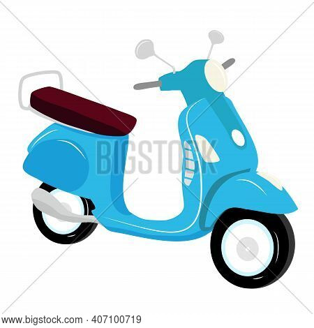 Blue Vintage Scooter On White Background Isolated, Vector Illustration, Urban Life, Ride A Motorbike