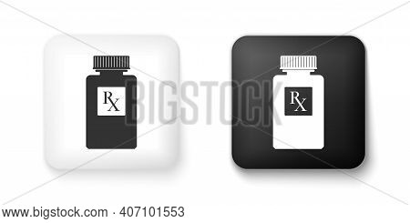 Black And White Pill Bottle With Rx Sign And Pills Icon Isolated On White Background. Pharmacy Desig