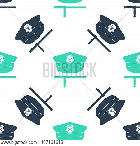 Green Police Cap And Rubber Baton Icon Isolated Seamless Pattern On White Background. Security Trunc