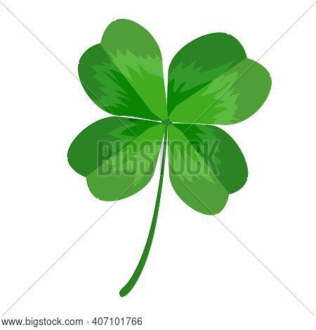 Clover Isolated On White Background. Clover Leaf With Four Petals. Green Shamrock For St. Patrick's
