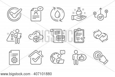 Like, Touchscreen Gesture And Resume Document Line Icons Set. Refill Water, Refresh And Confirmed Si