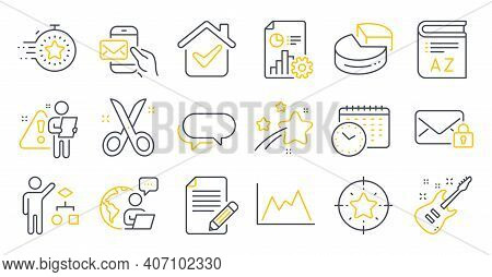 Set Of Education Icons, Such As Article, Messenger, Secure Mail Symbols. Pie Chart, Calendar Time, T