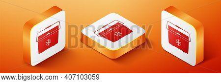 Isometric Cooler Bag Icon Isolated On Orange Background. Portable Freezer Bag. Handheld Refrigerator