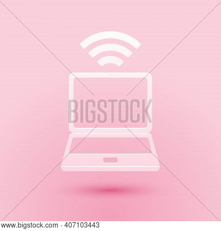 Paper Cut Laptop And Free Wi-fi Wireless Connection Icon Isolated On Pink Background. Wireless Techn