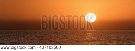 Sun Is Setting On Horizon At Sunset Sunrise Over Sea Or Ocean. Tranquil Sea Ocean Waves