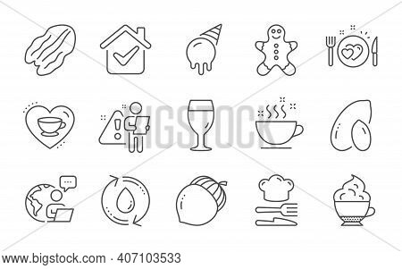 Love Coffee, Cappuccino Cream And Beer Glass Line Icons Set. Gingerbread Man, Food And Coffee Cup Si