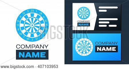 Logotype Classic Darts Board With Twenty Black And White Sectors Icon Isolated On White Background.