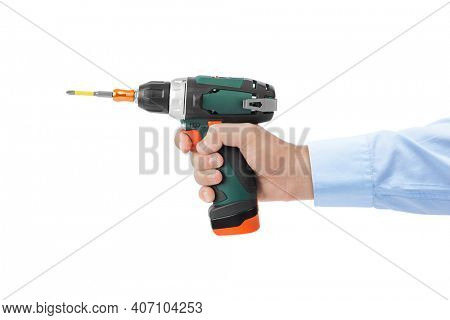 Electric drill or screwdriver in hand isolated on white background