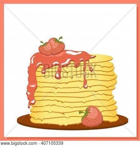 Pancakes. Strawberry Jam. Maslenitsa Week. Spring Festival Meeting. Pancakes Isolated On White Backg