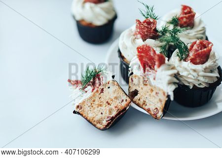Delicious Salty Snack Made From Bread, Sausage And Cheese On A Plate. Snack For Alcoholic Beverages