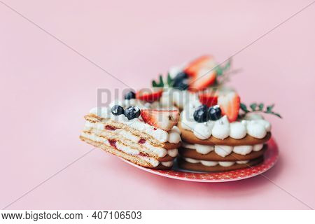 Delicious Sweet Flaky Snack With Berries On Top. A Sweet Snack For Any Holiday. Holiday Gift
