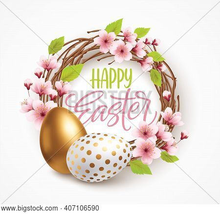 Happy Easter Greeting Background With Realistic Easter Eggs In A Wreath With Spring Flowers. Vector