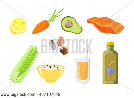 Healthy Food-  Balanced Product Set. Lively Food. Diet Concept. Colored Flat Vector Illustration Iso
