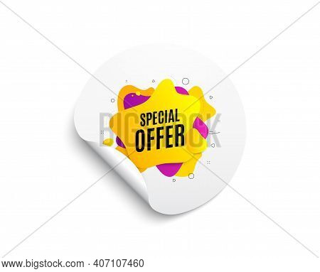 Special Offer Liquid Shape. Circle Sticker With Offer Banner. Discount Sticker Banner. Sale Coupon I