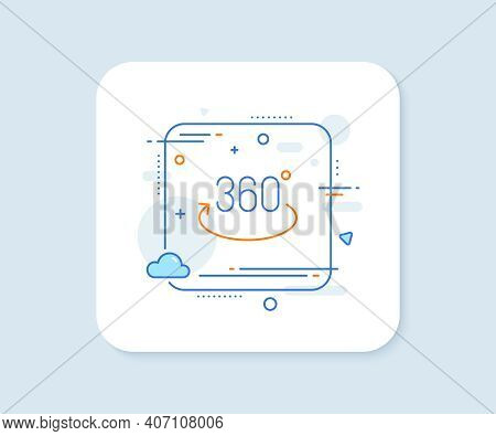 360 Degree Line Icon. Abstract Square Vector Button. Full Rotation Sign. Vr Technology Simulation Sy