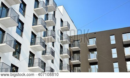 Modern Apartment Building In Sunny Day. Exterior, Residential House Facade.