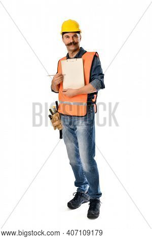 Construction worker with clipboard on hand over white background