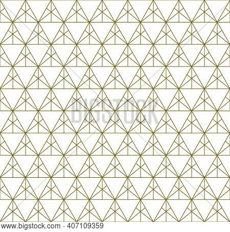 Japanese Seamless Kumiko Pattern In Golden With Fine Lines.