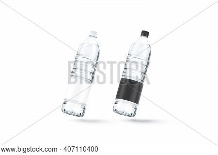 Blank Transparent Plastic Bottle With Black And White Label Mockup, No Gravity, 3d Rendering. Empty
