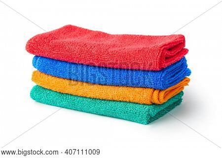 Stack of cleaning rags or towels isolated on white background