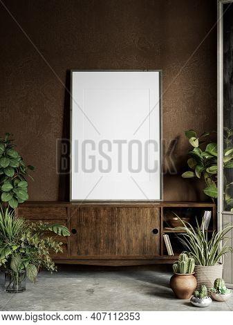 Brown Interior With Plants, Dresser, Stucco Wall, Decor And Frame. 3d Render Illustration Mock Up.