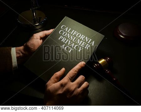 Man Reads California Consumer Privacy Act Ccpa Law.