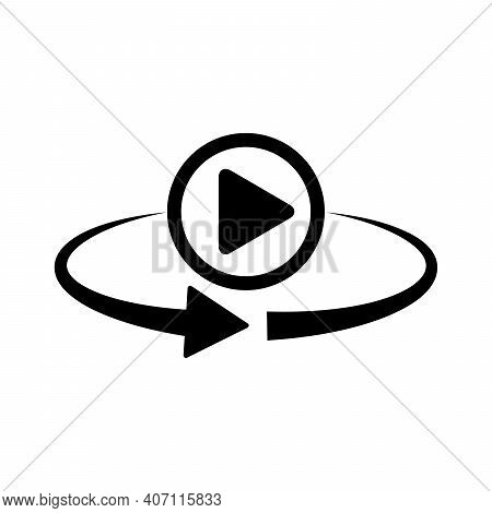Play Button Rotation Icon. 360 Degree Rotation. Black Video Play Button. Vector Illustration.