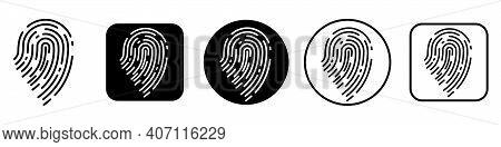 Fingerprint Recognition Concept. Fingerprint Icons Set. Black Thumbprint Icon. Vector Illustration