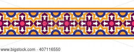 Border Line Seamless Background. Decorative Design Seamless Ornamental Mosaic Border Pattern. Islami