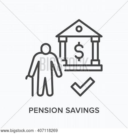 Pension Savings Flat Line Icon. Vector Outline Illustration Of Senior Man Standing Near Bank. Black