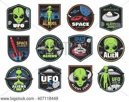 Aliens, Ufo Area And Space Shuttles Vector Retro Icons. Extraterrestrial Comer With Green Skin And H