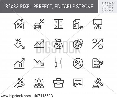 Finance Investment Simple Line Icons. Vector Illustration With Minimal Icon - Briefcase, Portfolio,