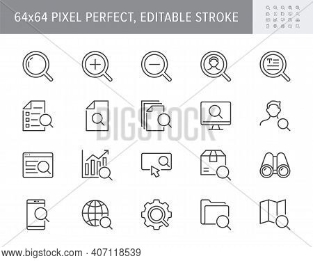 Search Simple Line Icons. Vector Illustration With Minimal Icon - Lupe, Analysis, Spyglass Lens, Lou