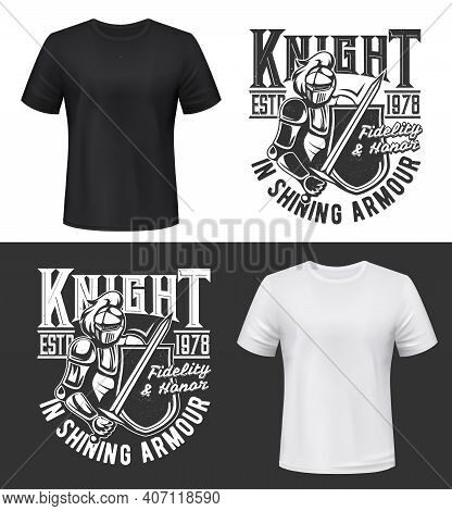 Tshirt Print With Knight, Sword And Shield Vector Mockup, Fight Club Mascot Medieval Warrior In Helm