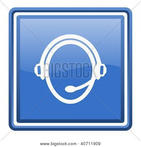 customer service blue glossy square web icon isolated