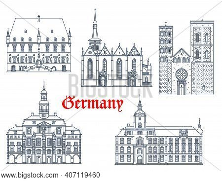 Germany Landmarks Architecture, Cathedrals Vector Icons, Houses And Buildings Of German Saxony Citie