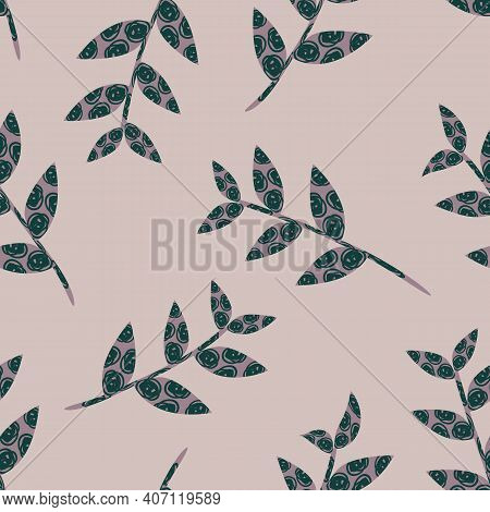 Abstract Stems Of Scribble Textured Vector Leaves. Botanical Seamless Pattern Background. Smoke Rose