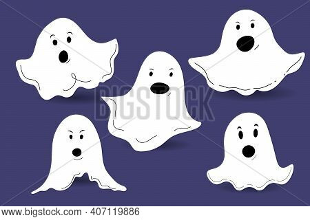Cute Halloween Ghosts. Scared Funny Ghost With Different Emotions. Set Of Icons Isolated On A Purple