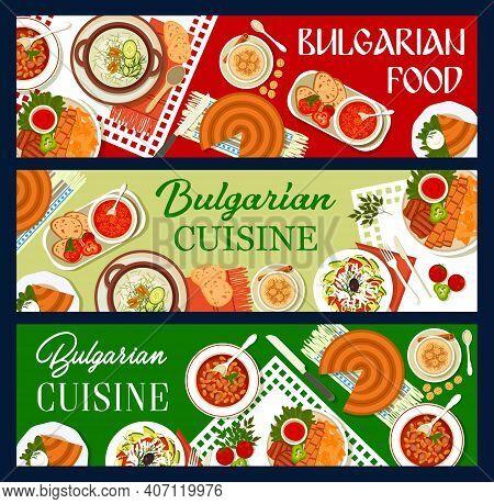 Bulgarian Cuisine Restaurant Meals Banners. Pork Kebapche, Yogurt Cucumber Cold Soup Tarator And Bea