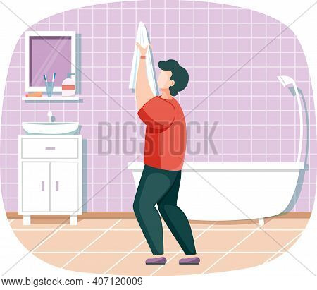 Personal Hygiene And Cleanliness, Daily Body Care Routine, Man Wipes His Hands With Towel In Bathroo