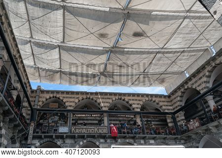 Diyarbakir, Turkey - October 9, 2020: This Is An Awning From The Heat Stretched Over The Courtyard O